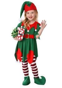 Disfraz De Ayudante De Santa Claus Duende Para Niñas 7