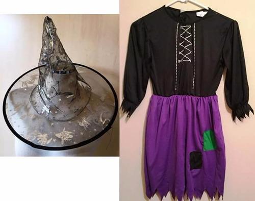 disfraz de brujas con sombrero talla 6 y 8