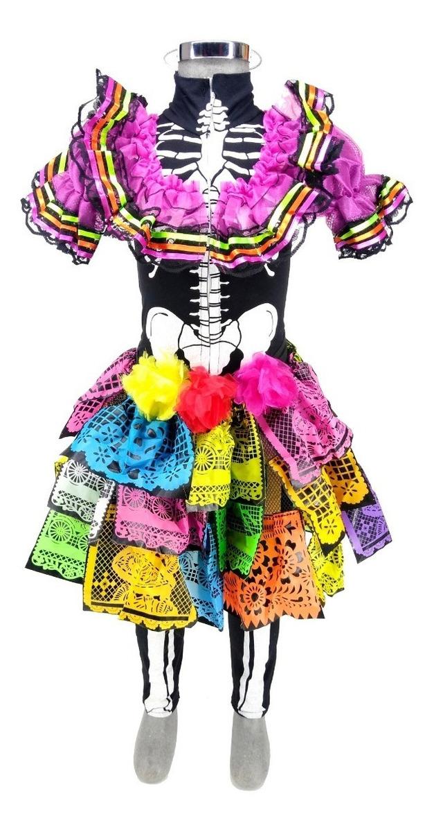 Disfraz De Catrina Niña Halloween Vestido Talla 4 5