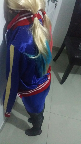 disfraz de harley quinn escuadron suicida con peluca niñas