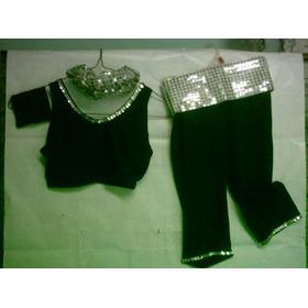 Disfraz De Madonna En Lycra Negra Con Pallietes Plateados