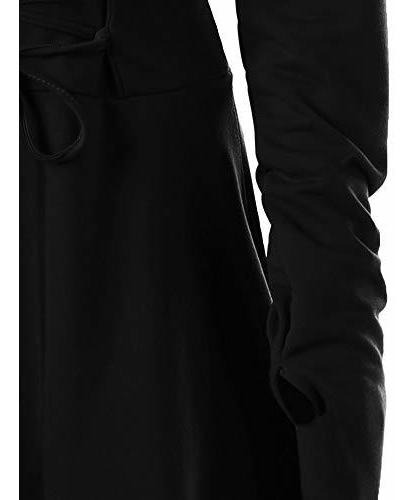 disfraz de mujer con capucha, tirantes cruzados, túnica de