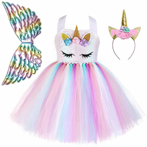 disfraz de unicornio de flores  para niñas vestidos de fiest