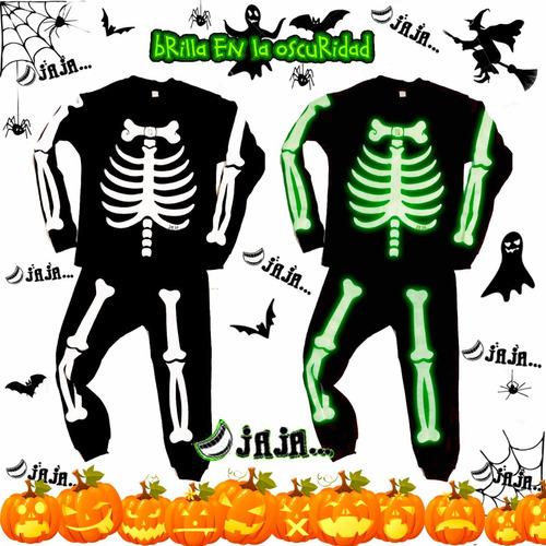 disfraz  esqueleto  pijama brilla en la oscuridad