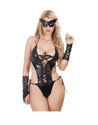 disfraz femenino de gatubela conjunto sexy 3 piezas negro