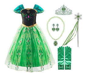 Disfraz Frozen Princesa Ana Vestido Verde 6 Años Msi