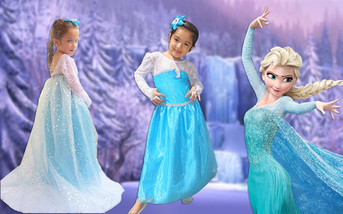 disfraz frozen princesa elsa disney vestido capa desmontable