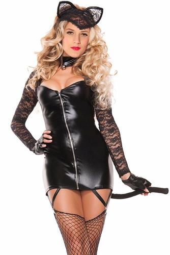 disfraz gatita vestido con cierre ligueros cola table dance