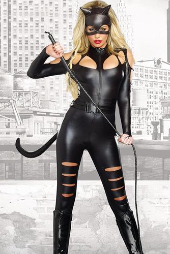 disfraz gatubela sexy vinyl negro brilloso con máscara 8907