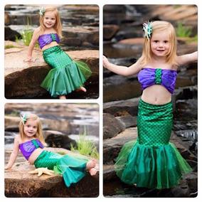 Disfraz Halloween Ariel Sirenita Niña Dos Piezas 1 2 Años
