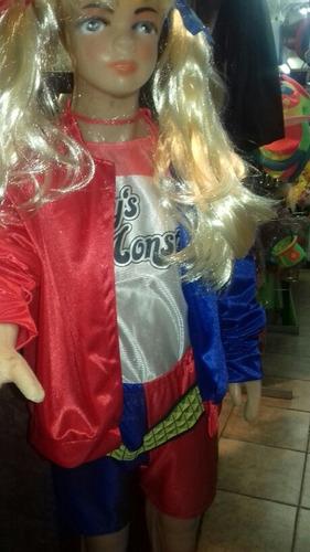 disfraz harley quinn con peluca.cosplay cotillon chirimbolos
