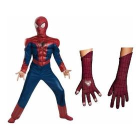 Disfraz Hombre Araña - Amazing Spiderman Musculos Y Guantes