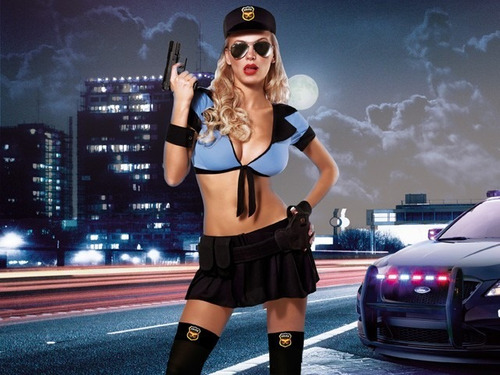 disfraz  hot  police !!   conjunto de cuatro piezas ,t unico