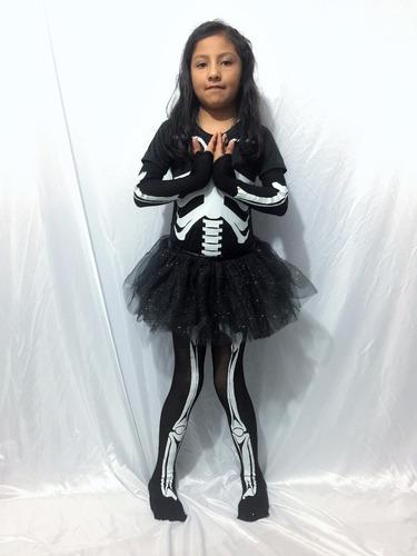 disfraz hueso esqueleto catrina calaca halloween niña tutu