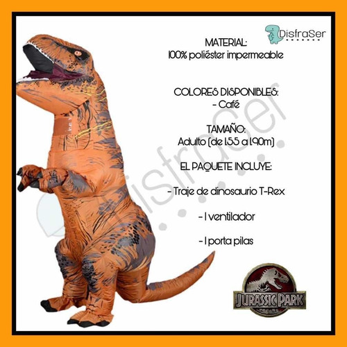 disfraz inflable dinosaurio t-rex
