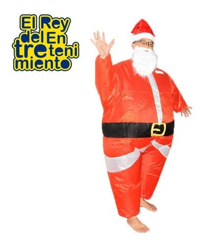 disfraz inflable papá noel traje navidad + bomba aire el rey