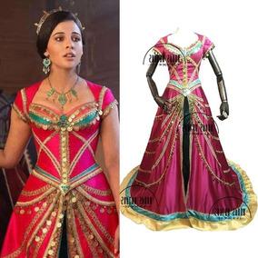 Disfraz Jasmin Aladin Niña Sexy Vestido Rosa Largo Escotado