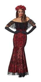Disfraz Mujer Dia De Muertos Vestido La Catrina Elegante