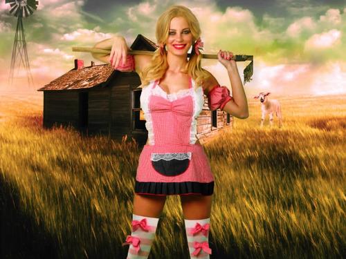 disfraz muy  hot farmgirl ! conjunto de 4 piezas t .unico !!