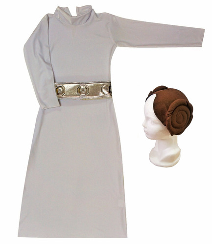disfraz niña jedi princesa vestido leia star wars rey bb8