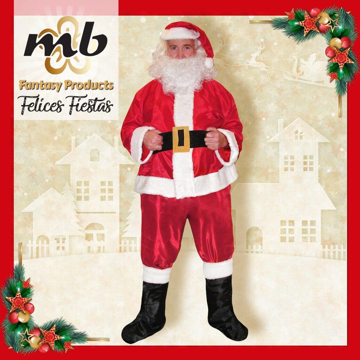 3cd35c80184c1 Disfraz Papá Noel Tafeta Con Gorro Con Pelo Y Barba -   549