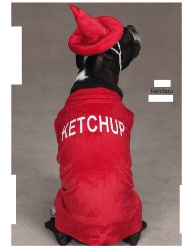 disfraz para mascotas catsup talla grande color rojo blanco