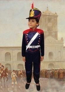 disfraz patrio atuendo traje de granadero c/ sombrero