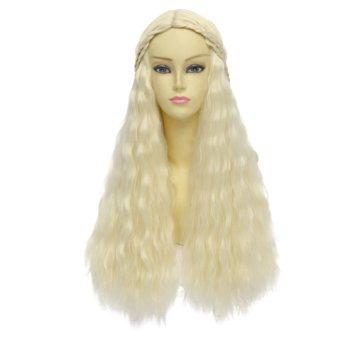 disfraz peluca rizada larga trenzada del pelo ondulado de h