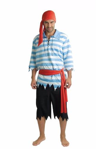 disfraz pirata rayas azules