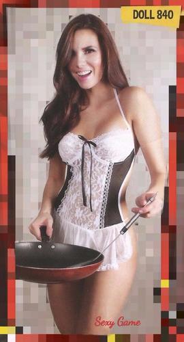 disfraz sirvienta sexy con tanga, medias blancas de regalo