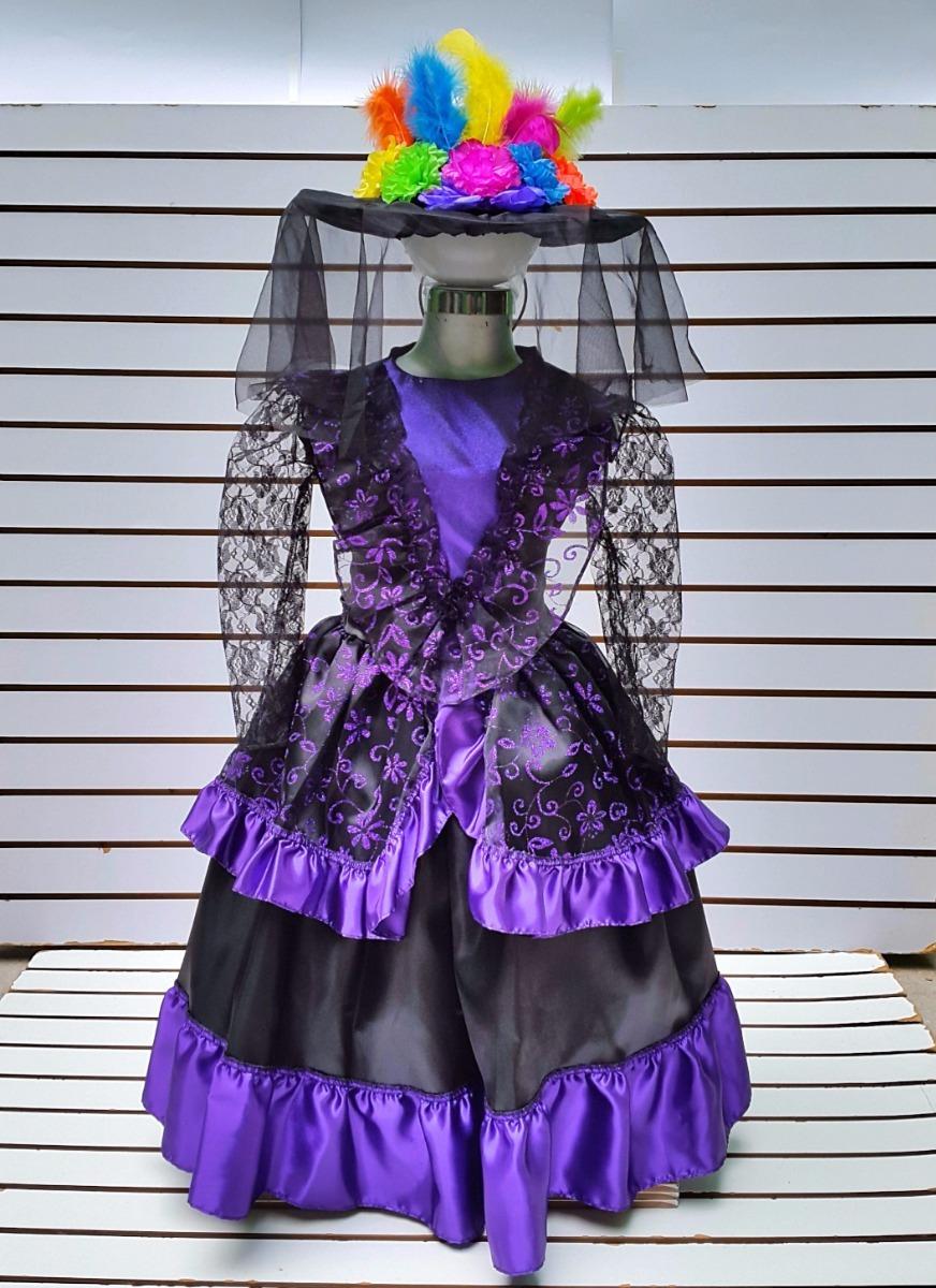 Disfraz talla catrina morada niñas sombrero halloween cargando zoom jpg  872x1200 Sombrero disfraz de catrina 3fda0f2a15d