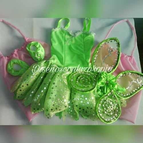 Disfraz Tinkerbell Campanita Vestido +alas +cubrezapatitos -   799 ... 43dc07e5c7a7