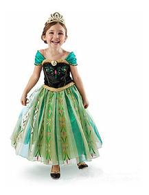 Disfraz Vestido Anna Princesas Disney Cosplay Costume Niña
