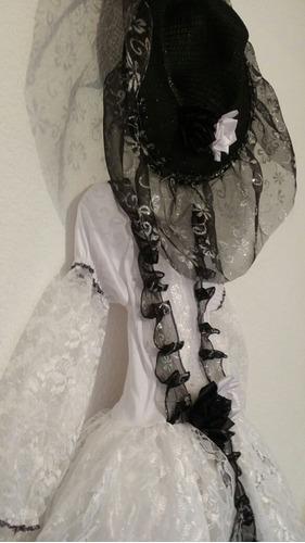 disfraz vestido catrina con sombrero envio gratis