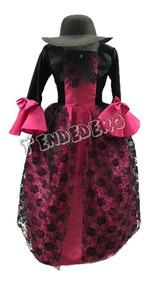 Disfraz Vestido Catrina Fucsia Día De Muertos