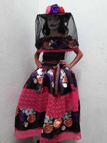 Disfraz Vestido Catrina Lujo Sombrero Envio