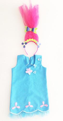 disfraz vestido de trolls princesa amapola niña 3-4 años