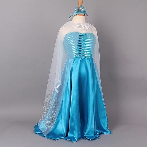 disfraz vestido frozen elsa ana con corona y capa