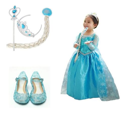 disfraz vestido set frozen+vara+corona+zapatos cumpleaños
