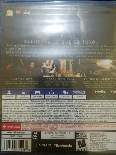 dishonored 2 ps4 standard edition español delivery stock ya