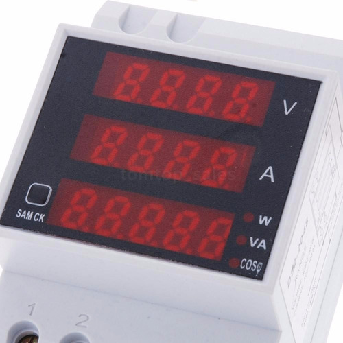 disjuntor voltímetro amperímetro wattímetro 110v 220v 100 ac