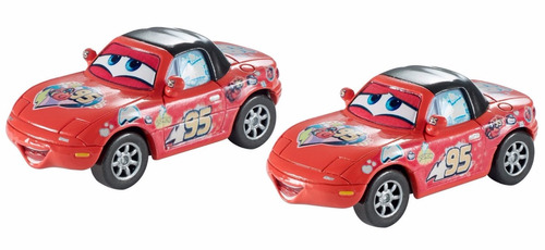 disney cars carros - lightning mcqueen super fan mia & tia