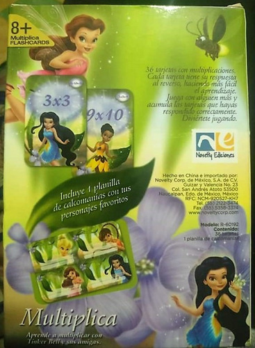 disney hadas, 36 tarjetas flashcard educativas multiplicar.
