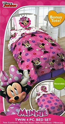 disney minnie mouse gemelo de 4 piezas juego de cama con as