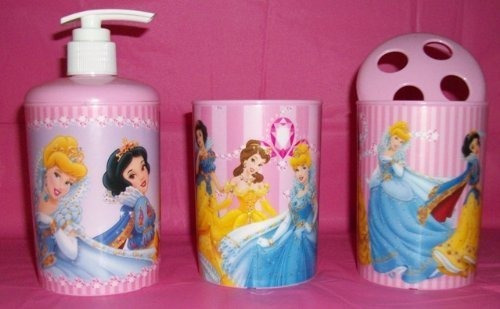 disney princess pink baño set - dispensador de jabón - copa