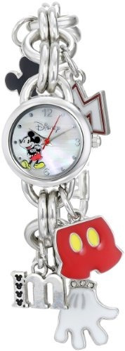 disney womens mk2066 mickey mouse charm watch with mother of