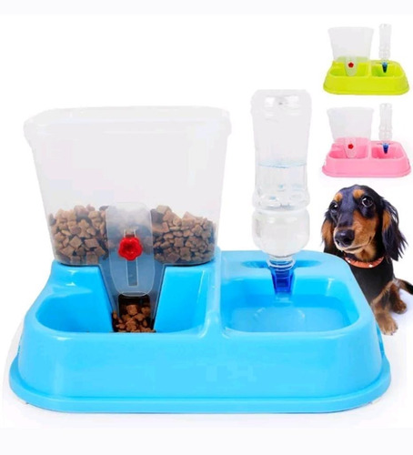 dispensador agua comida + baño entrenador mascotas