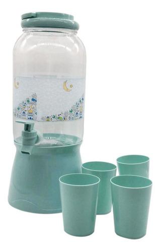 dispensador bebidas 3l plastico + 4 vasos - impre$ionante