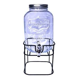 Dispensador De Bebidas Vitrolero Agua Vidrio Con Base Mason Jar