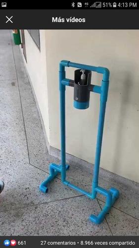 dispensador de gel antibacterial ecológico en tubo pvc